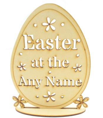 Laser Cut Personalised 'Easter at the...' Egg on stand