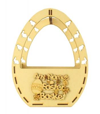 Laser Cut Personalised Easter Egg Shape Basket - Easter Shapes & Flowers