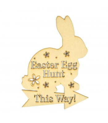Laser Cut 'Easter Egg Hunt, This Way' Rabbit with Arrow Sign