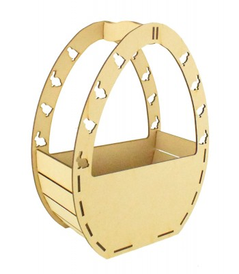 Laser Cut Plain Easter Egg Shape Basket