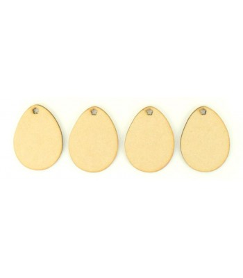Laser Cut Eggs with Flower Shape Holes - Pack of 4