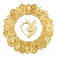 Laser Cut Detailed Floral Easter Wreath with Hanging Rabbit Heart Shape in the Center