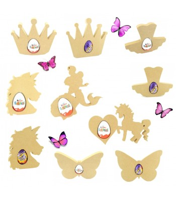 18mm Freestanding CREME EGG and KINDER EGG Holders - Bargain Pack of 10 assorted shapes - Girls Theme