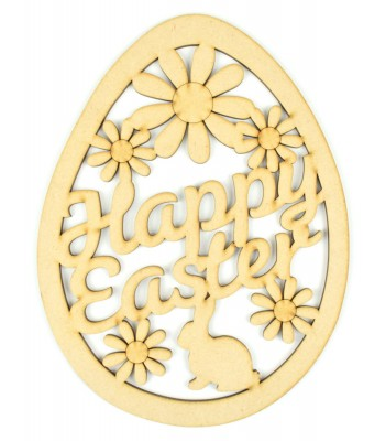 Laser Cut 'Happy Easter' Egg Shape Sign