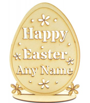 Laser Cut Personalised 'Happy Easter' Egg on stand