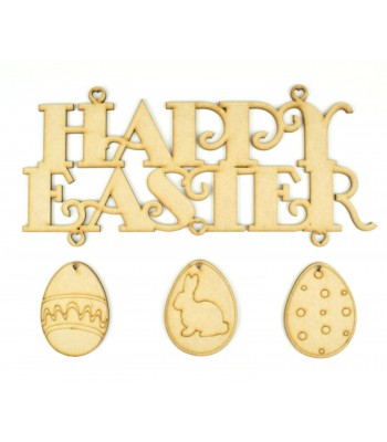 Laser Cut 'Happy Easter' Sign with 3 Hanging Easter Eggs