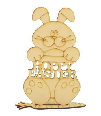 Laser Cut 'Hoppy Easter' Bunny Rabbit on a stand