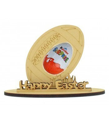 6mm Rugby Ball Shape Kinder Egg Holder on a Stand - Stand Options