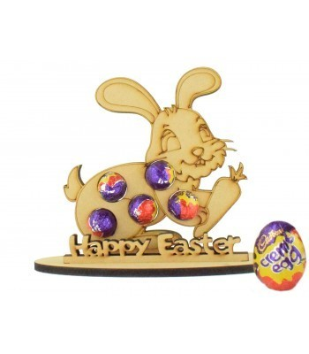 6mm Easter Rabbit with Carrot Shape Mini Creme Egg Holder on a Stand - Stand Options