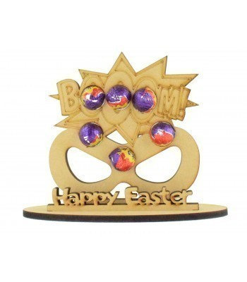 6mm Superhero Mask Shape Mini Creme Egg Holder on a Stand - Stand Options
