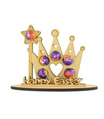 6mm Princess Crown Shape Mini Creme Egg Holder on a Stand - Stand Options