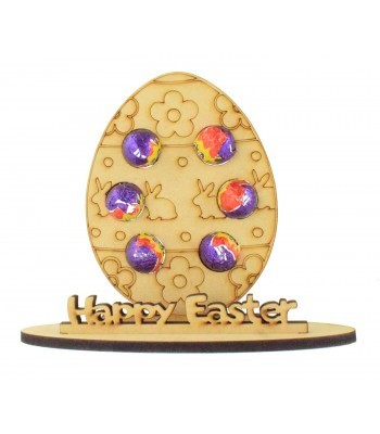 6mm Easter Egg Shape with Flowers and Rabbit Pattern Mini Creme Egg Holder on a Stand - Stand Options