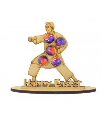 6mm Karate Man Shape Mini Creme Egg Holder on a Stand - Stand Options