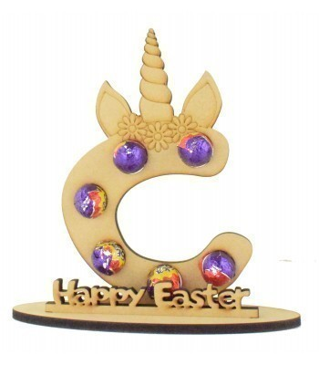 6mm Personalised Unicorn Letter Mini Creme Egg Holder on a Stand - Stand Options