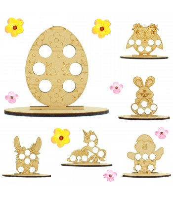 6mm Girls Easter Themed Mini Creme Egg Holder on a Plain Stand - Bargain Pack of 12 (Design 2)