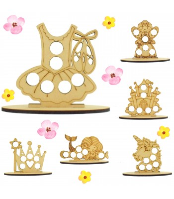6mm Girls Easter Themed Mini Creme Egg Holder on a Plain Stand - Bargain Pack of 12