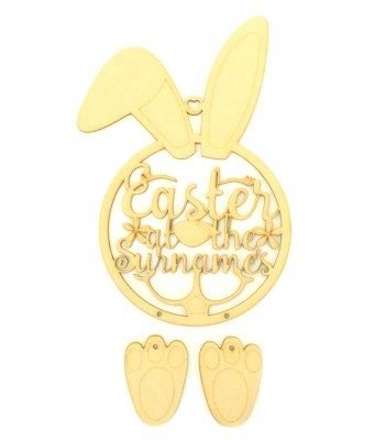 Laser Cut Personalised 'Easter At The...' Easter Rabbit Dream Catcher with Hanging Feet