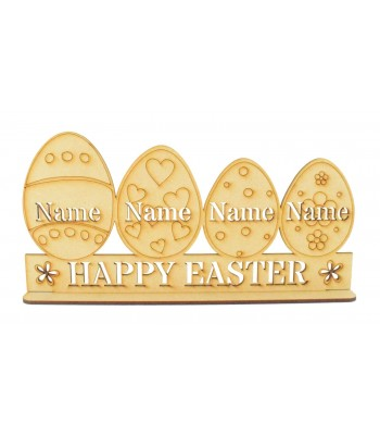 Laser Cut Personalised Easter Egg Family on a Stand - 3mm