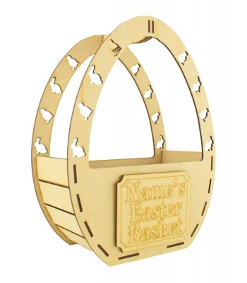 Laser Cut Personalised Easter Egg Shape Basket