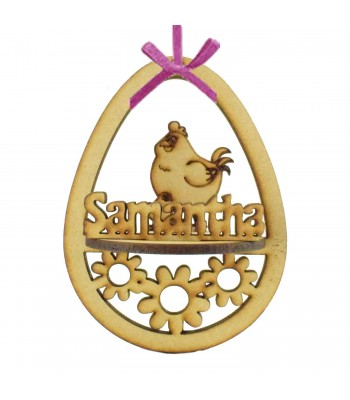 Laser Cut Personalised 3D Easter Egg Frame Bauble with Chicken Shape