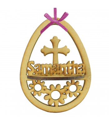 Laser Cut Personalised 3D Easter Egg Frame Bauble with Cross Shape