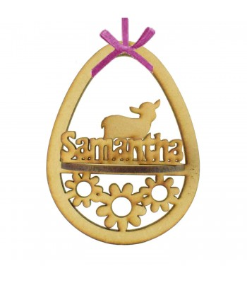 Laser Cut Personalised 3D Easter Egg Frame Bauble with Lamb Shape