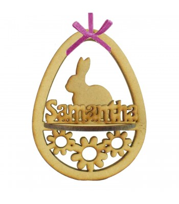 Laser Cut Personalised 3D Easter Egg Frame Bauble with Rabbit Shape
