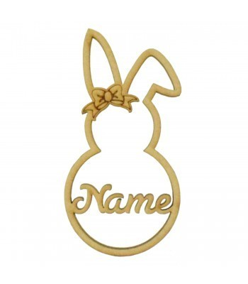 Laser Cut Personalised Girl Easter Rabbit Frame Bauble - Size Options