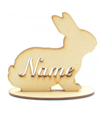 Laser Cut Personalised Rabbit Silhouette with cut out stencil Name on a stand