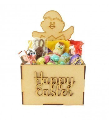 Laser Cut Easter Hamper Treat Boxes - Easter Chick Shape