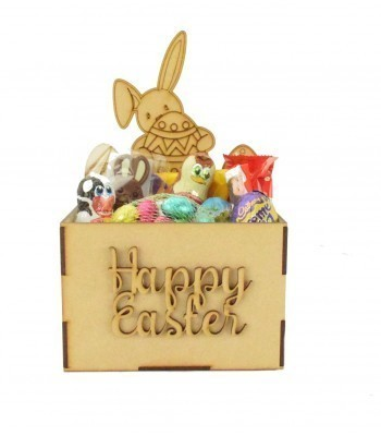 Laser Cut Easter Hamper Treat Boxes - Boys Easter Bunny Shape