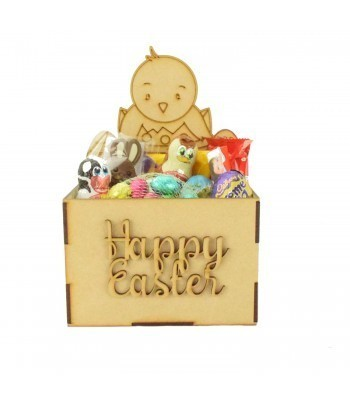 Laser Cut Easter Hamper Treat Boxes - Easter Chick with Eggs Shape