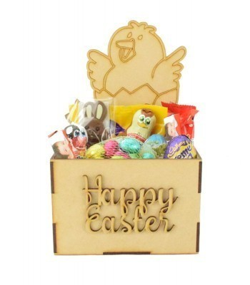 Laser Cut Easter Hamper Treat Boxes - Easter Chick with Daffodil Flower Shape