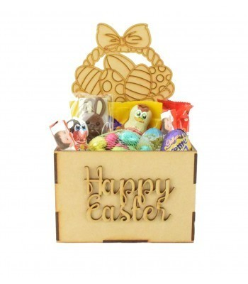 Laser Cut Easter Hamper Treat Boxes - Easter Basket Shape