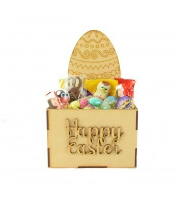 Laser Cut Easter Hamper Treat Boxes - Easter Egg Shape