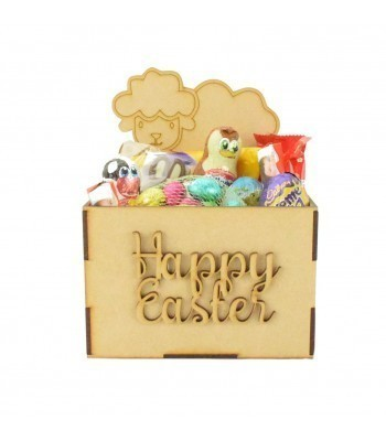Laser Cut Easter Hamper Treat Boxes - Easter Lamb with Eggs Shape