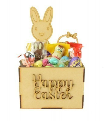 Laser Cut Easter Hamper Treat Boxes - Easter Bunny with Basket Shape