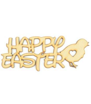 Laser Cut 'Happy Easter' Sign with a Chick