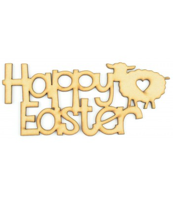 Laser Cut 'Happy Easter' Sign with a Lamb