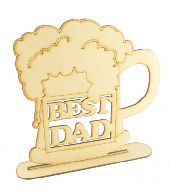 Laser Cut 'Best Dad' Beer Mug Shape Sign on a Stand