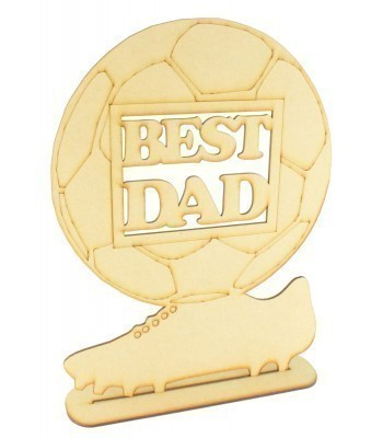 Laser cut 'Best Dad' Football Shape Sign on a Stand