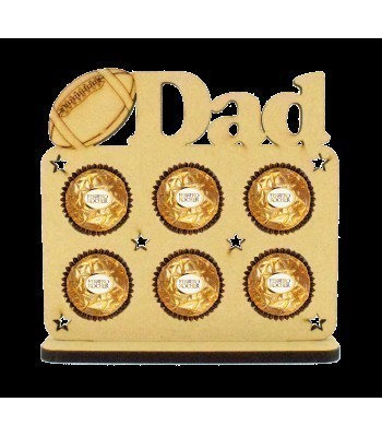 6mm 'Dad' with Rugby Ball Plaque Ferrero Rocher Holder on a Stand