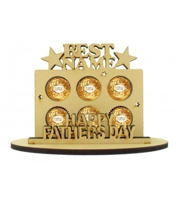 6mm Personalised Fathers Day 'Best...' Plaque Shape Ferrero Rocher or Lindt Chocolate Ball Holder on a Stand - Stand Options