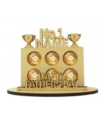 6mm Personalised Fathers Day 'No.1...' Plaque Shape Ferrero Rocher or Lindt Chocolate Ball Holder on a Stand - Stand Options