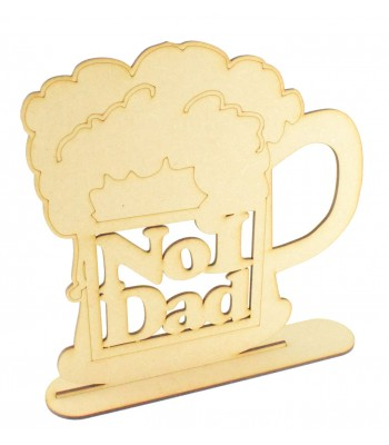 Laser cut 'No1 Dad' Large Beer Mug on a stand - EX STOCK