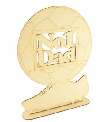Laser cut 'No 1 Dad' Large Football Sign on a stand - EX STOCK