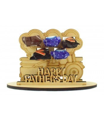 6mm Fathers Day Tractor with Trees & Cow Shapes Mini Chocolate Bar Holder on a Stand - Stand Options
