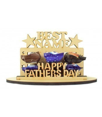 6mm Personalised Fathers Day 'Best...' Plaque Shape Mini Chocolate Bar Holder on a Stand - Stand Options