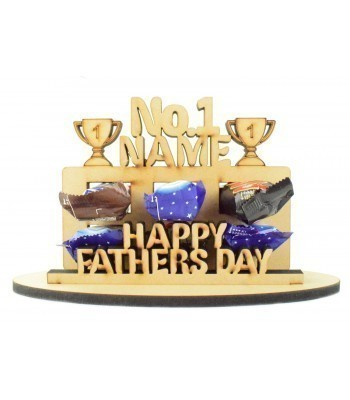 6mm Personalised Fathers Day 'No.1...' Plaque Shape Mini Chocolate Bar Holder on a Stand - Stand Options
