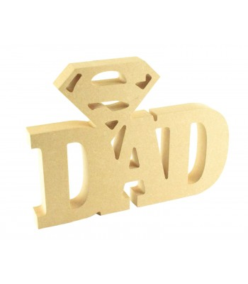 Freestanding MDF Dad Word with Superman logo on the top - Super Dad Sign